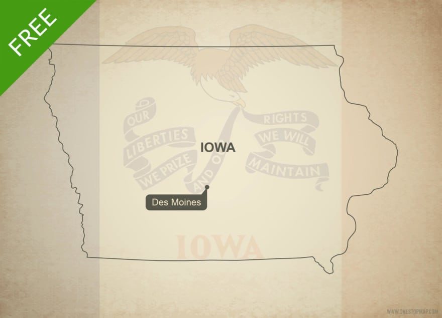 Free blank outline map of the U.S. state of Iowa