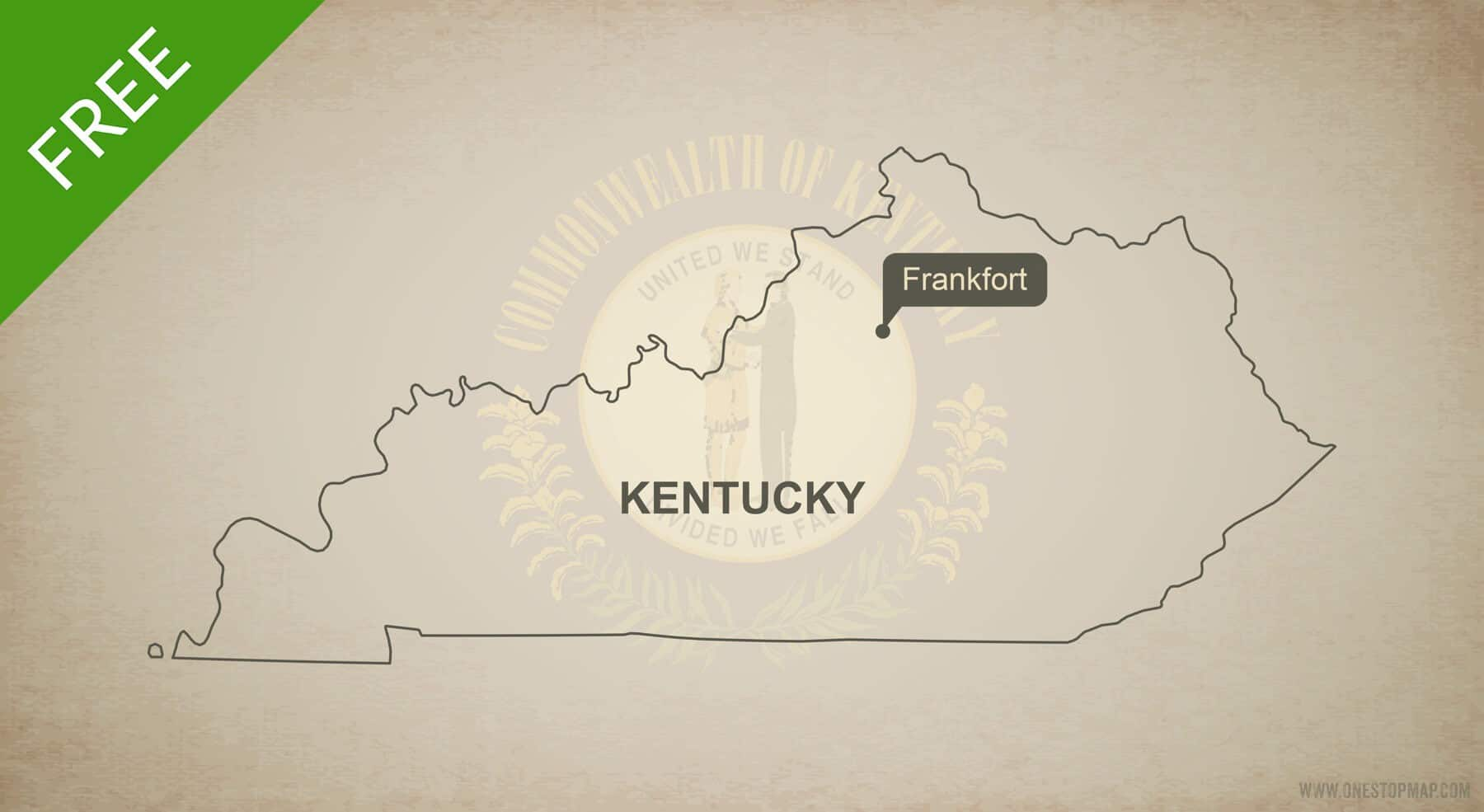 Free blank outline map of the U.S. state of Kentucky