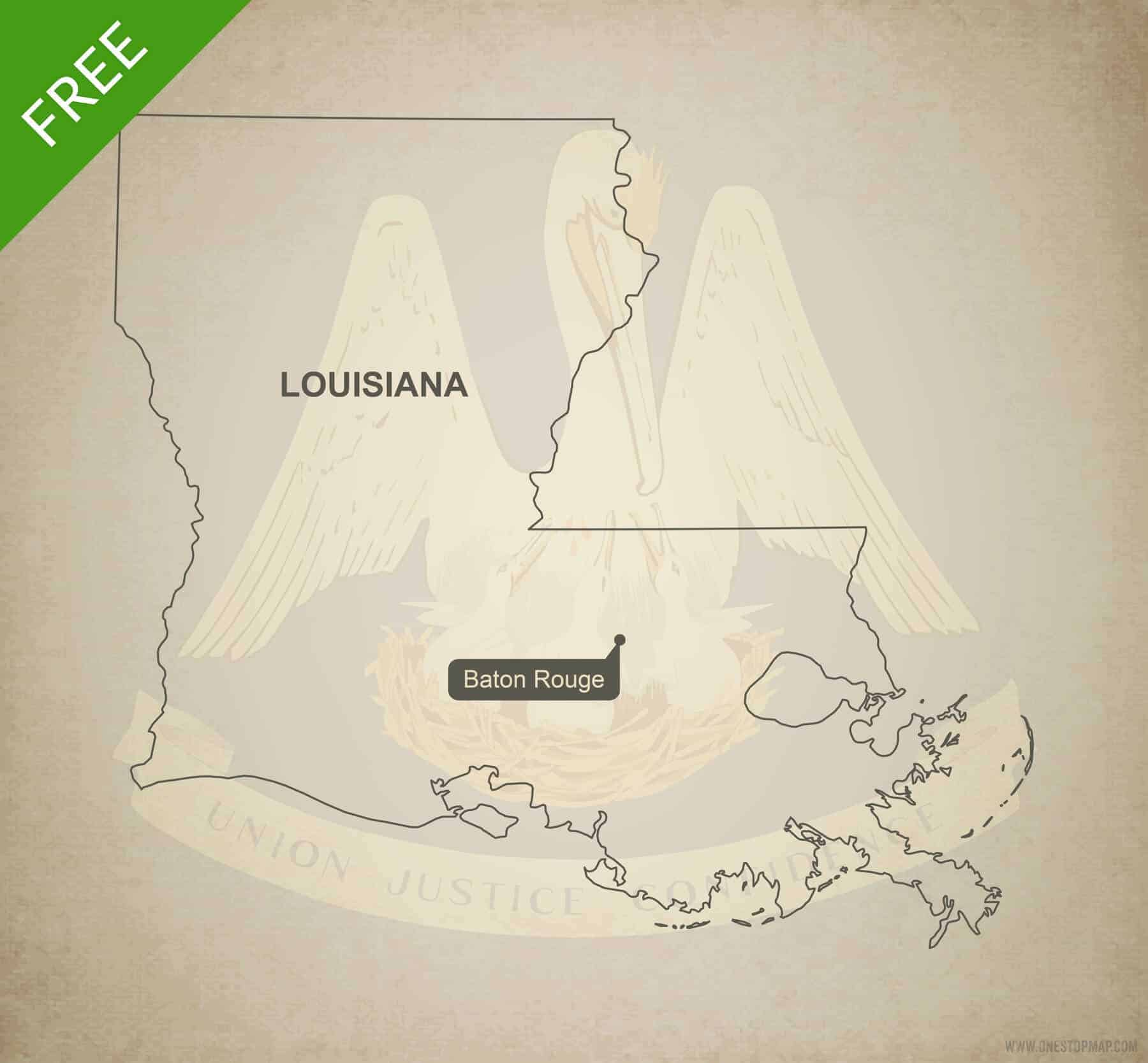 Free blank outline map of the U.S. state of Louisiana