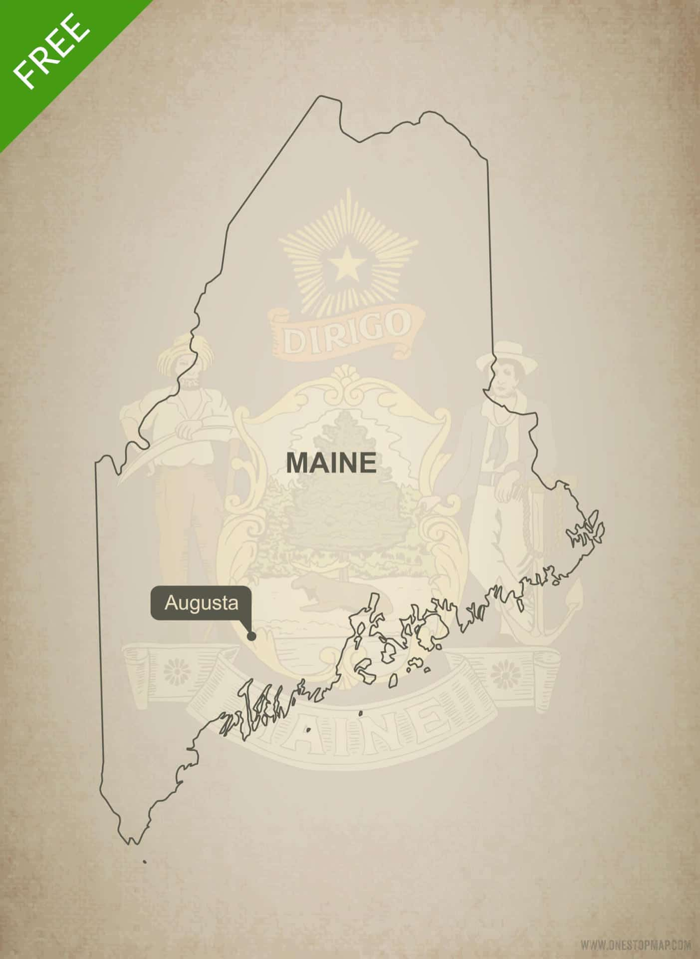 Free blank outline map of the U.S. state of Maine