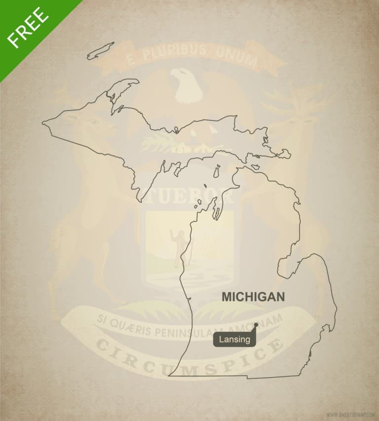 Free blank outline map of the U.S. state of Michigan