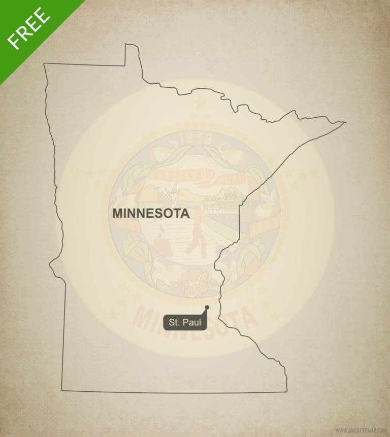 Free blank outline map of the U.S. state of Minnesota