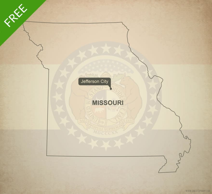 Free blank outline map of the U.S. state of Missouri