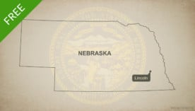 Free blank outline map of the U.S. state of Nebraska