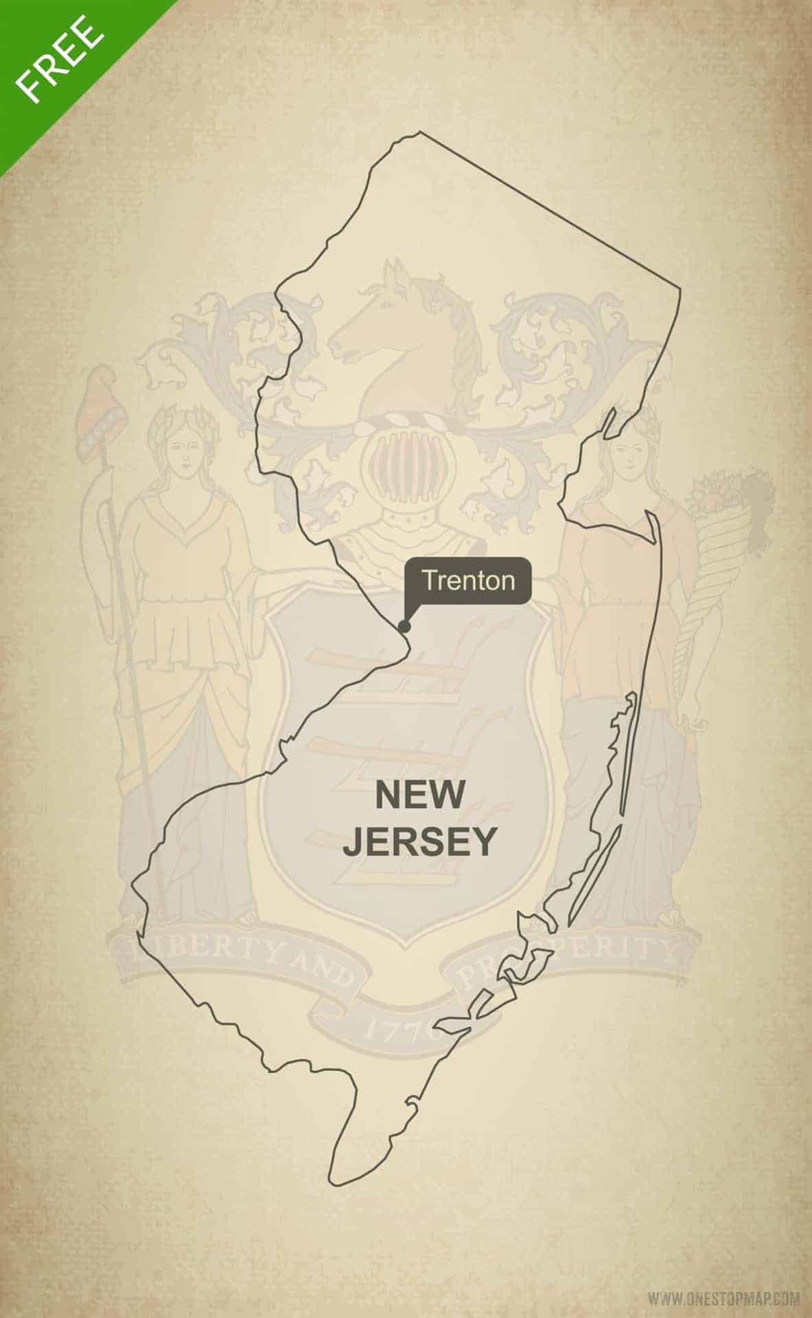 Free vector map of New Jersey outline | One Stop Map