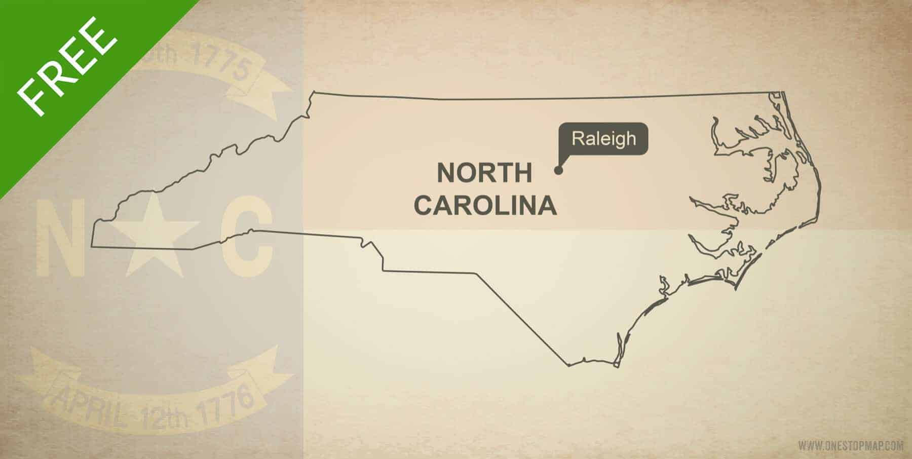 Free blank outline map of the U.S. state of North Carolina
