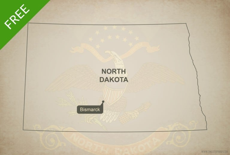 Free blank outline map of the U.S. state of North Dakota
