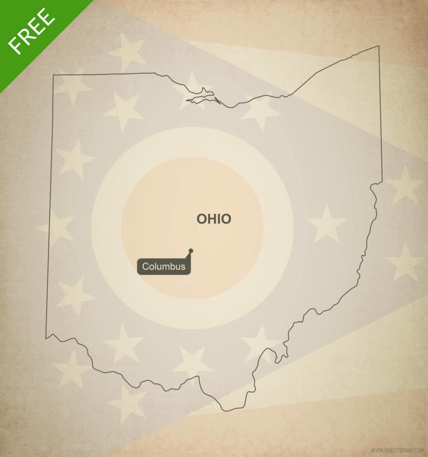 Free blank outline map of the U.S. state of Ohio