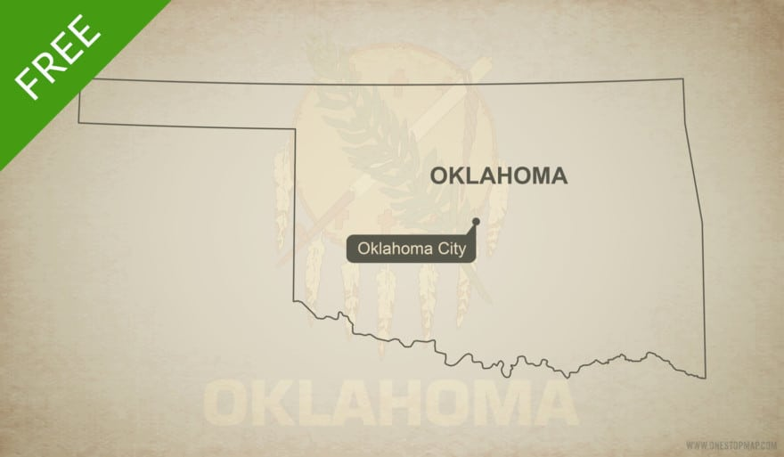 Free blank outline map of the U.S. state of Oklahoma