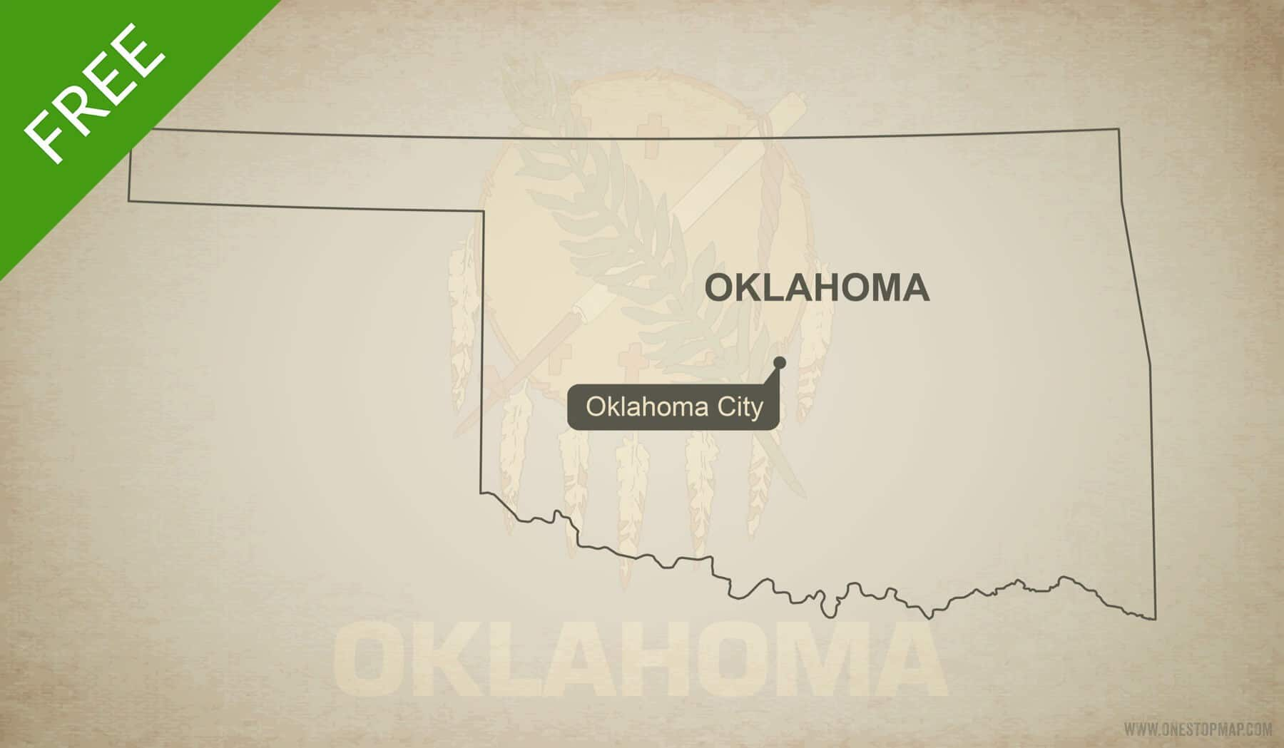 Free vector map of Oklahoma outline