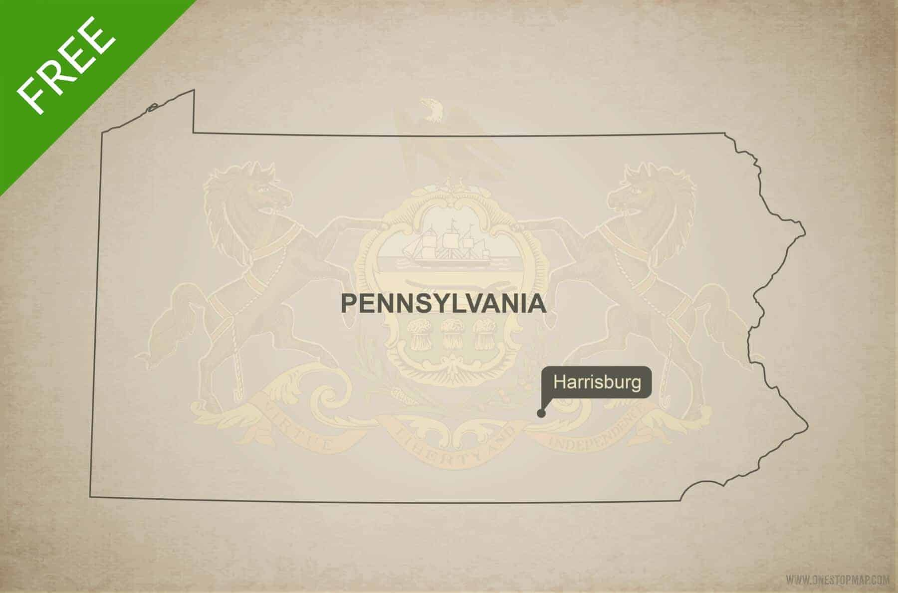 Free blank outline map of the U.S. state of Pennsylvania