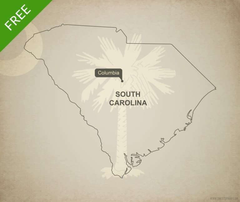 Free blank outline map of the U.S. state of South Carolina