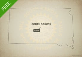 Free blank outline map of the U.S. state of South Dakota