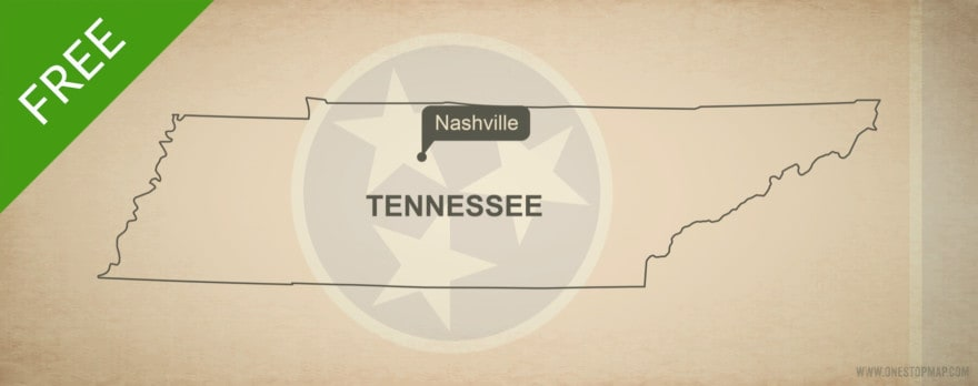 Free blank outline map of the U.S. state of Tennessee