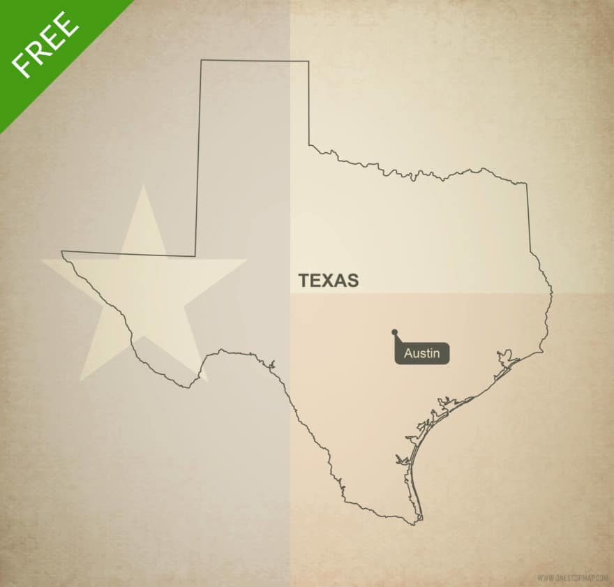 Free blank outline map of the U.S. state of Texas