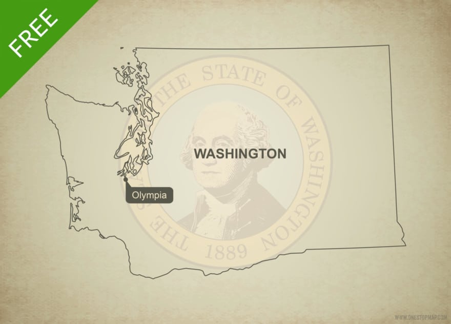 Free blank outline map of the U.S. state of Washington