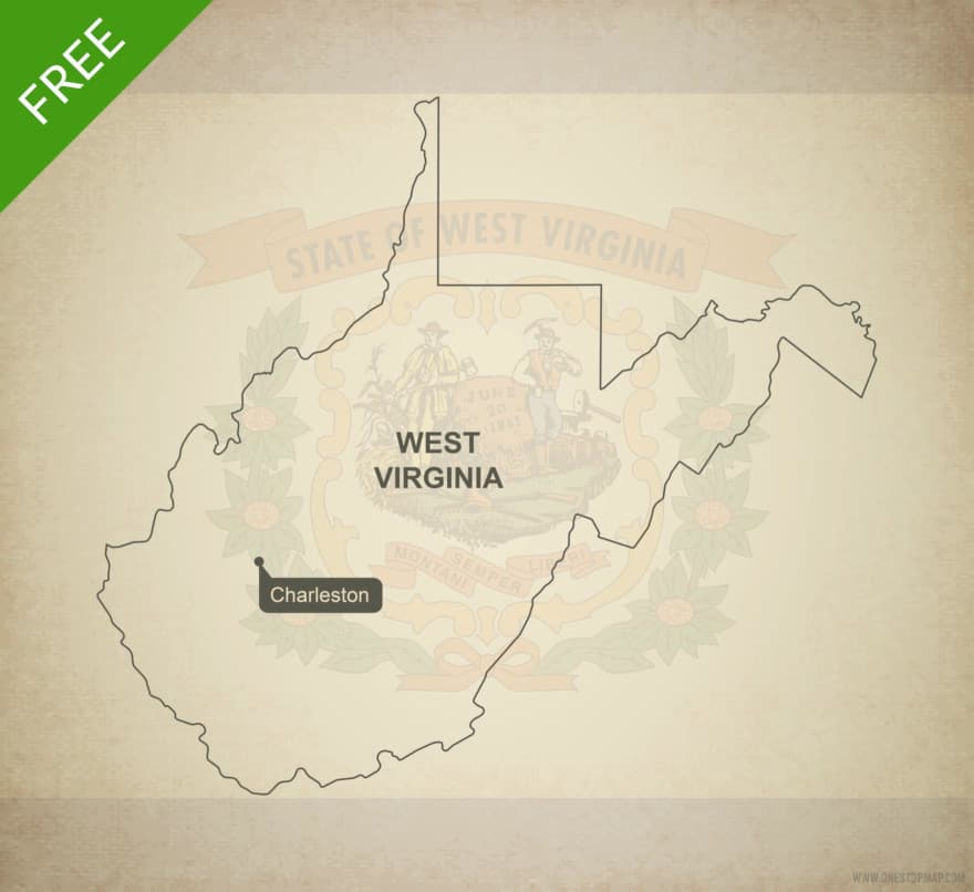 Free blank outline map of the U.S. state of West Virginia