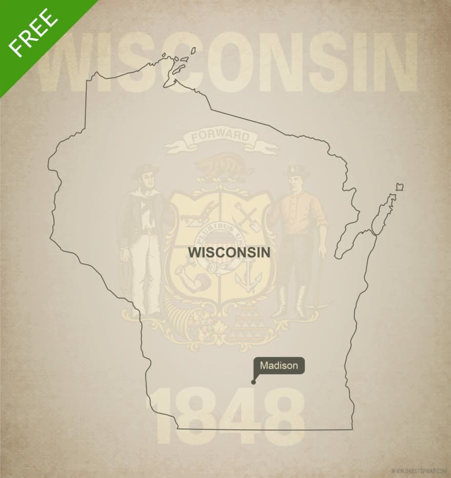 Free blank outline map of the U.S. state of Wisconsin