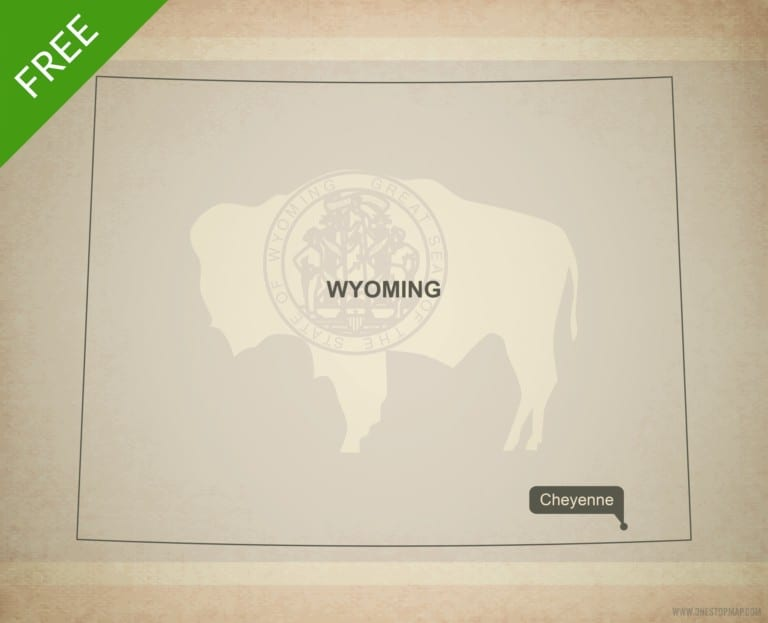 Free blank outline map of the U.S. state of Wyoming