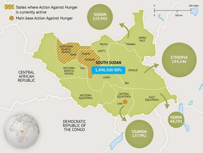 Example map for Action Against Hunger - States where Action Against Hunger is currently active
