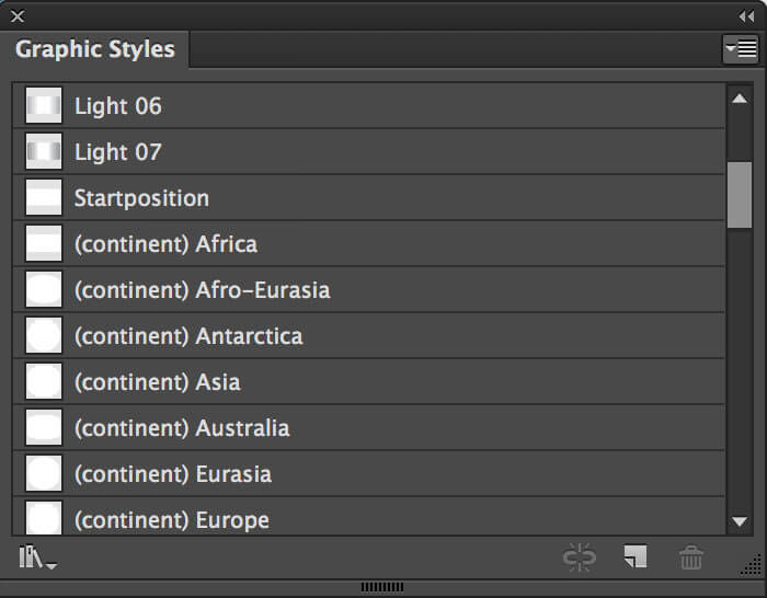 The Graphic Styles palette contains several styles to control the rotation and lightning of the globe