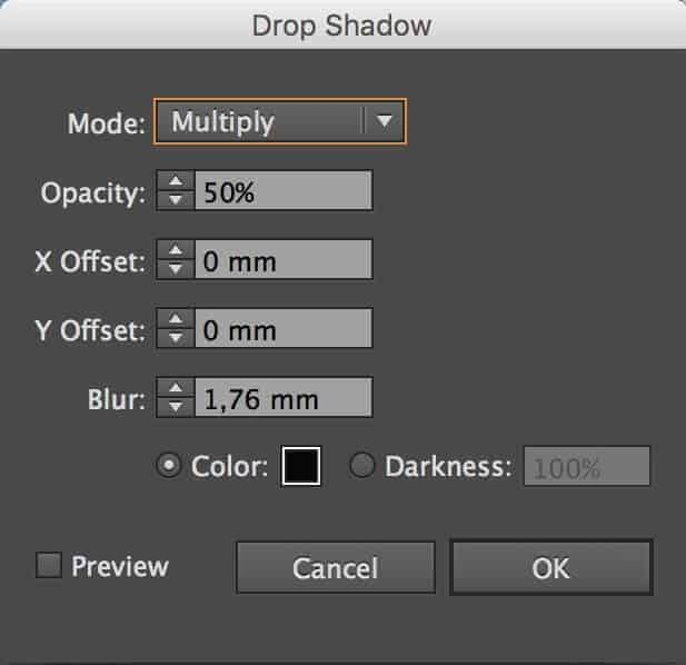 Dial in your values for the drop shadow