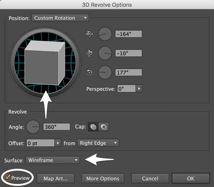 The 3D Revolve Options dialog box
