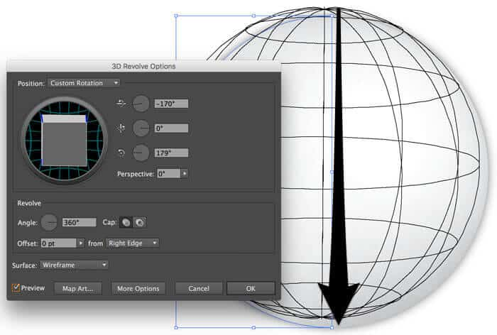 Hover over the cube and drag it in your desired direction in the 3D Revolve Options dialog box