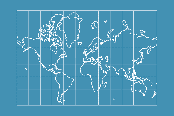 Example world map in Mercator projection