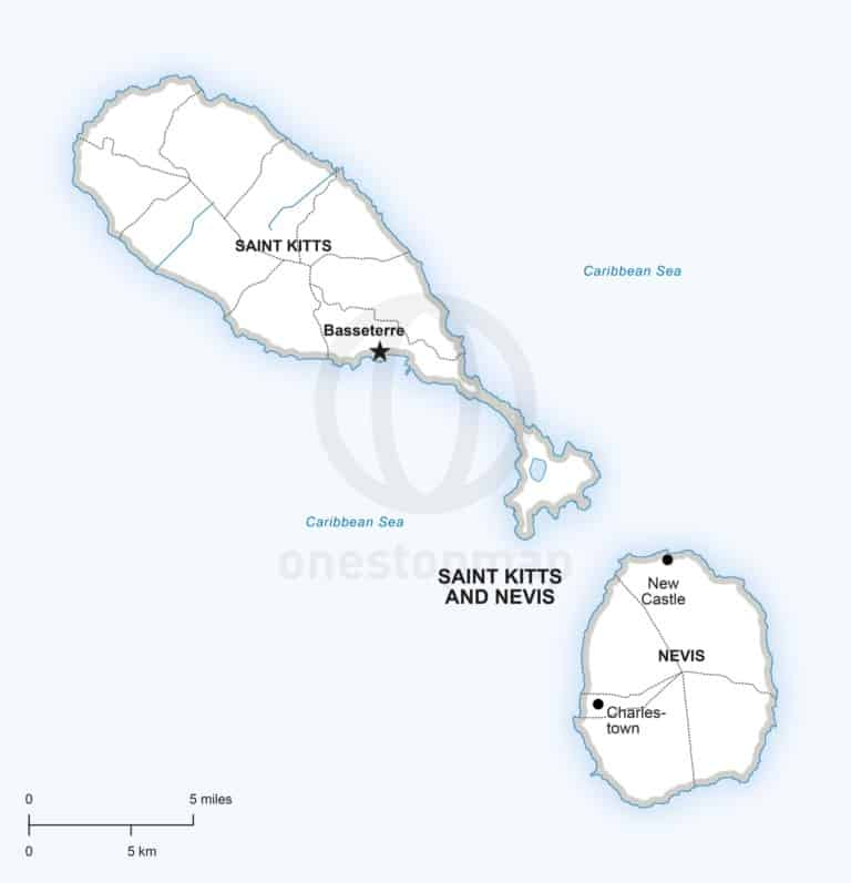 Vector map of Saint Kitts and Nevis political