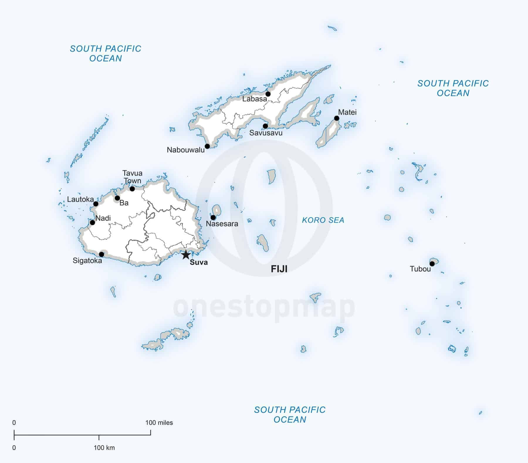 Vector map of Fiji political