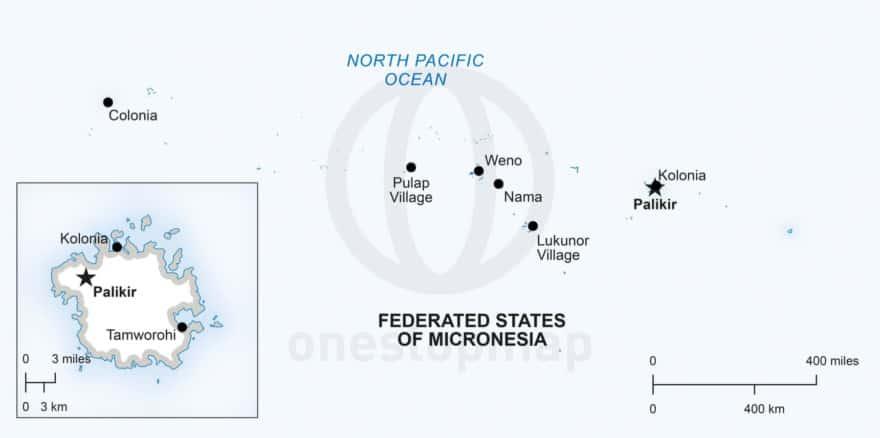 Vector map of Micronesia political