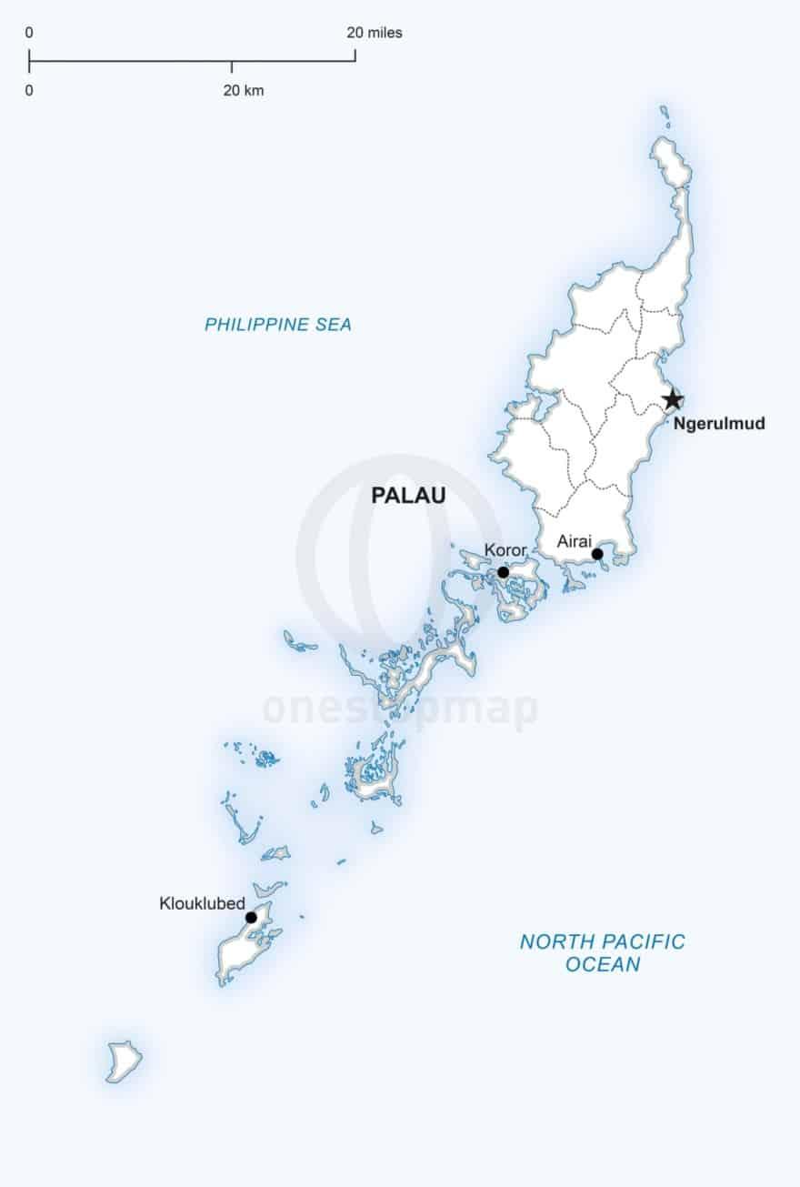 Vector map of Palau political