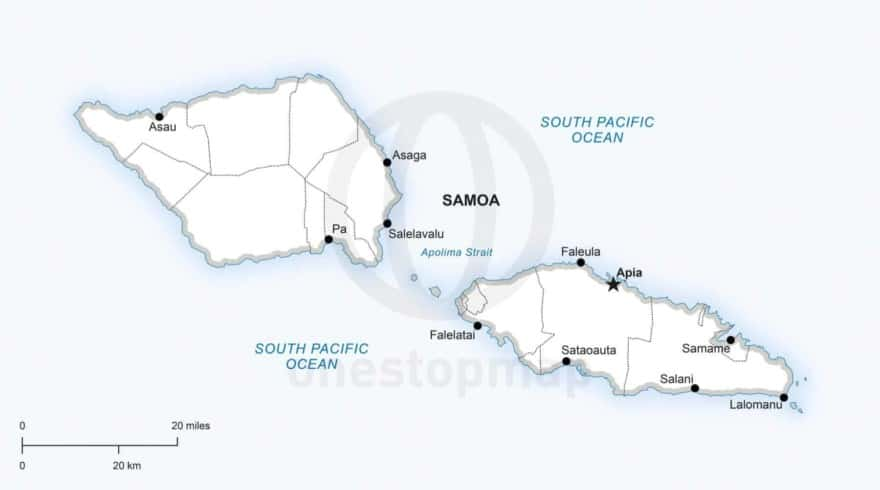 Vector map of Samoa political
