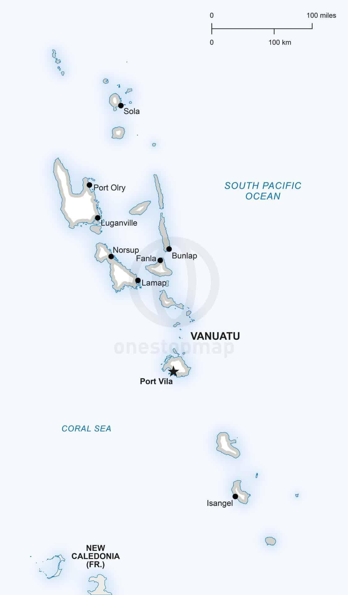 Vector map of Vanuatu political
