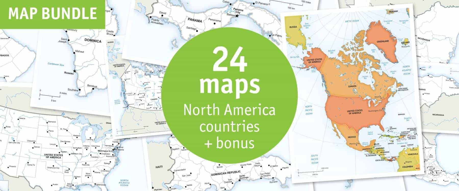 North America countries map bundle - defined map style
