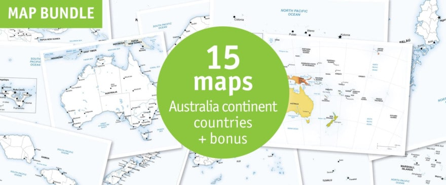 Australia continent countries map bundle - defined map style