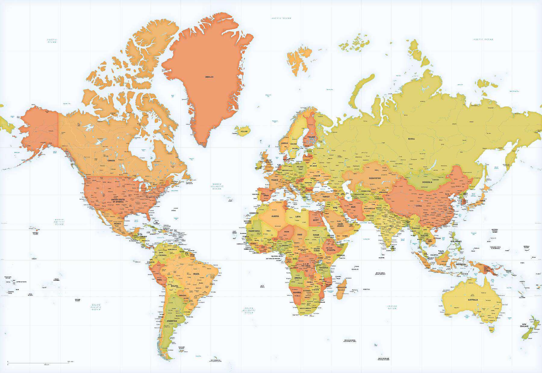World map, Mercator projection