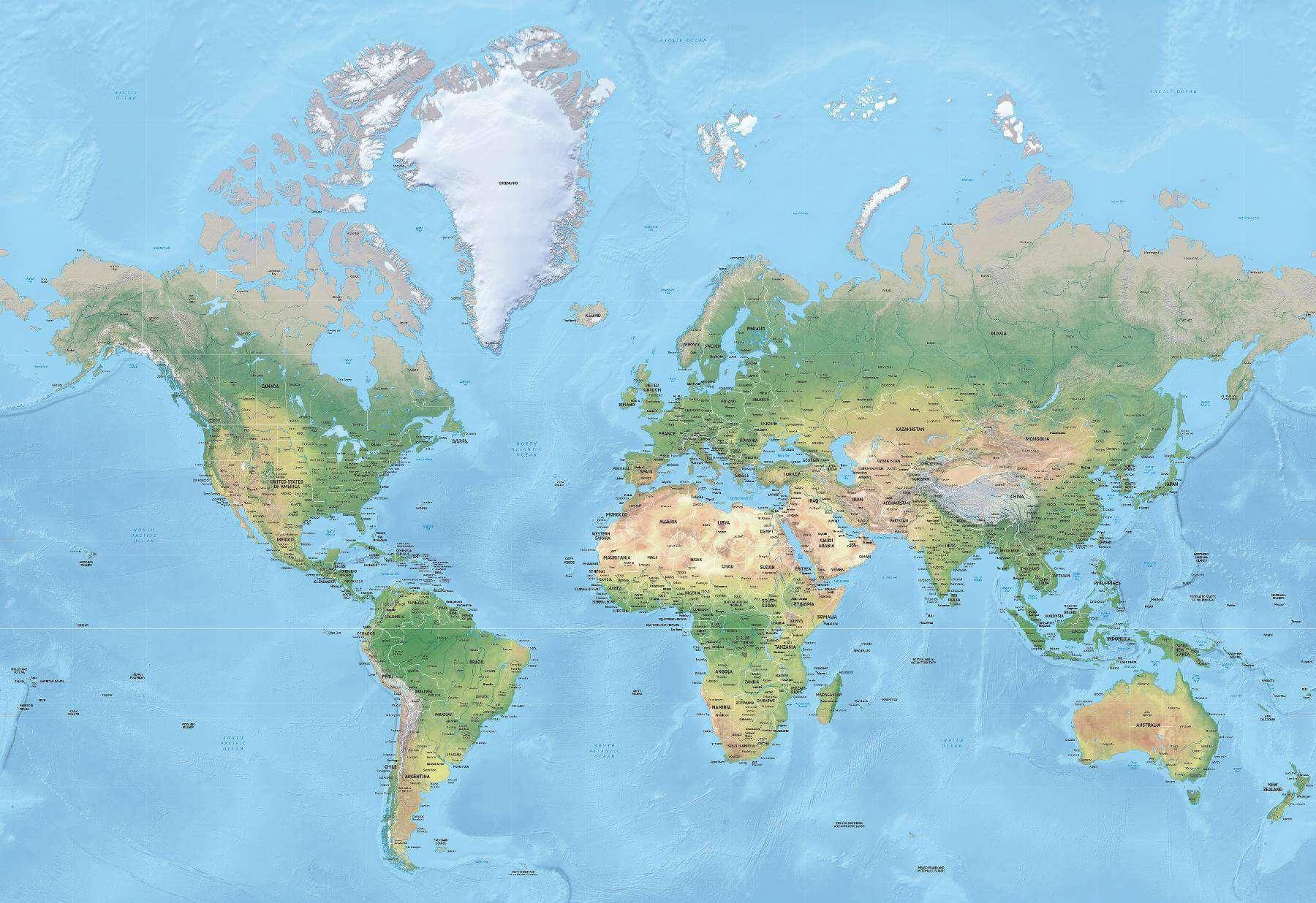 World map, Mercator projection