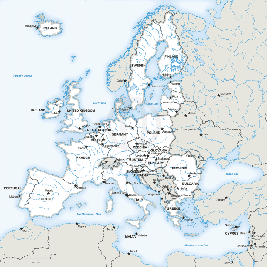 European Union political map (pre-Brexit)