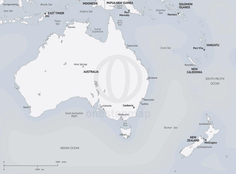 Map of Australia - New Zealand in Minimalist style