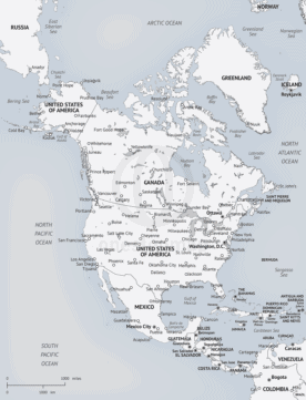 Map of North America, Minimalist style