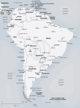 Map of South America in Minimalist style