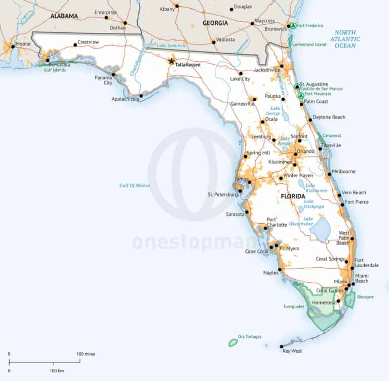 Florida map, Defined Plus style