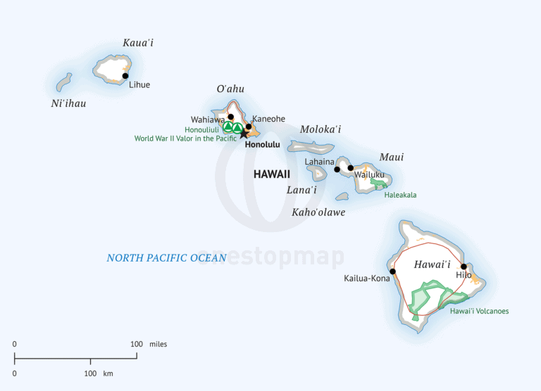 Hawaii Map, Defined Plus style