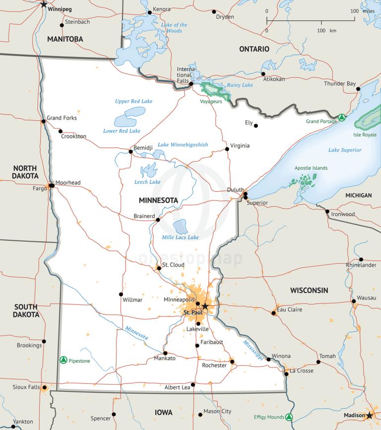 Stock vector Map of Minnesota