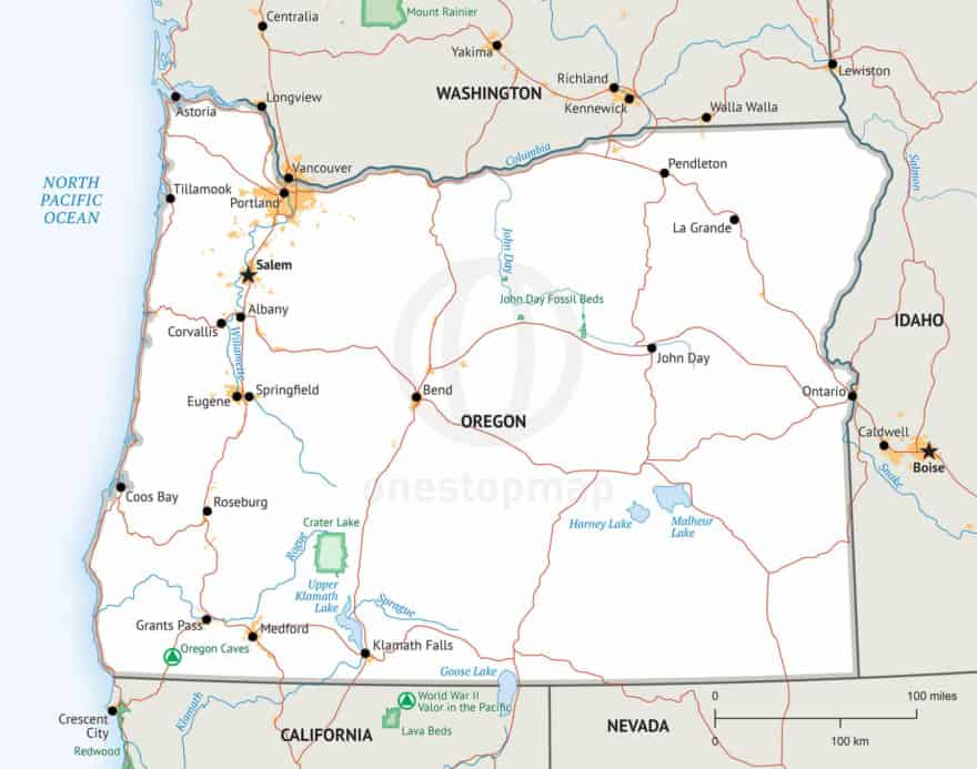 Oregon Map, Defined Plus style