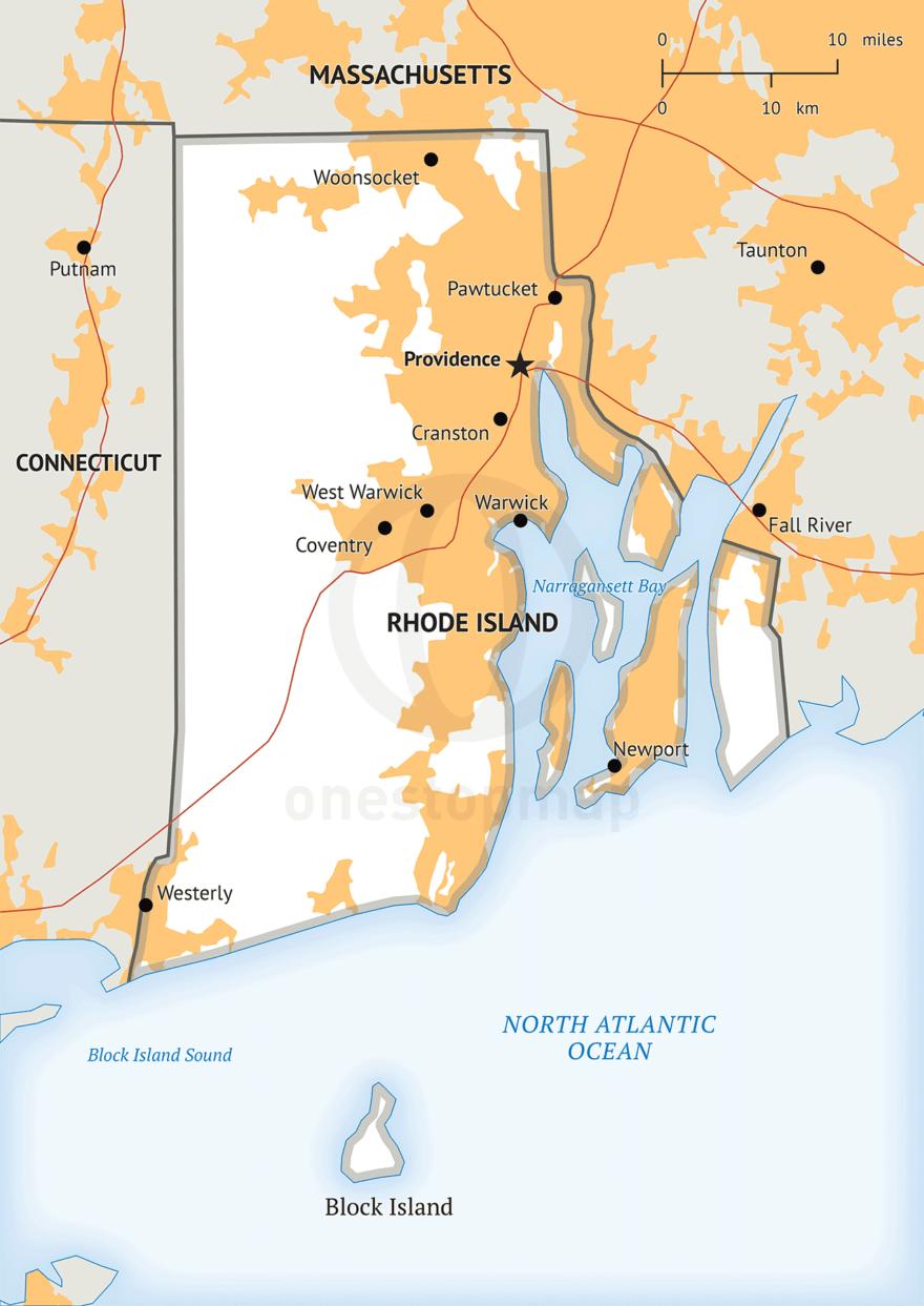 Stock vector map of Rhode Island