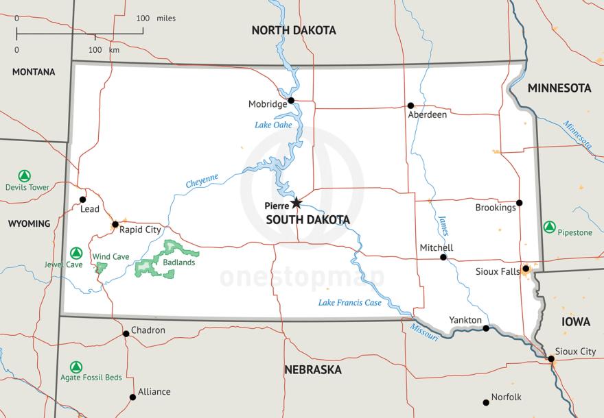 Stock vector map of South Dakota
