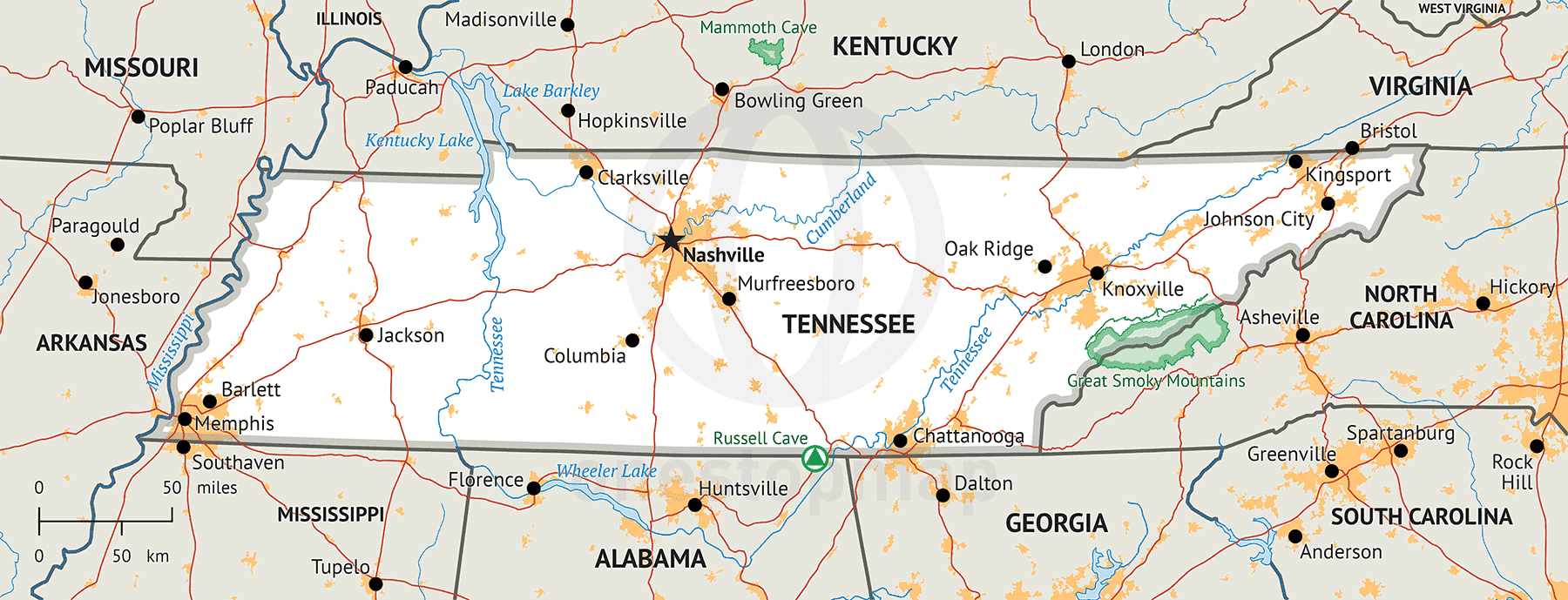 Stock vector map of Tennessee